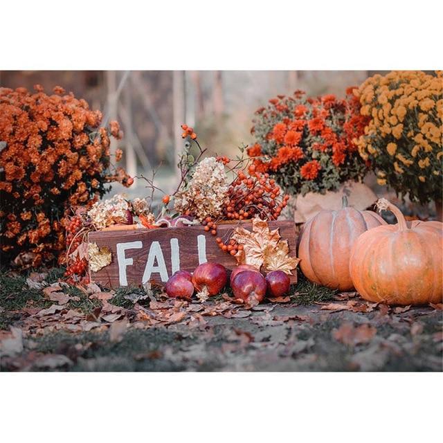 Vinyl Halloween Backdrops Printed Flowers Maple Leaves Autumn Scenery Pumpkins Newborn Baby Kids Fall Photo Backgrounds ha-258
