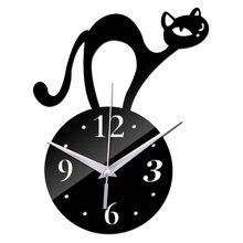 Horloge murale 3d à Quartz pour bricolage   Nouveau Design de chat, autocollant créatif salon art, décoration de maison sûre, livraison gratuite 2018