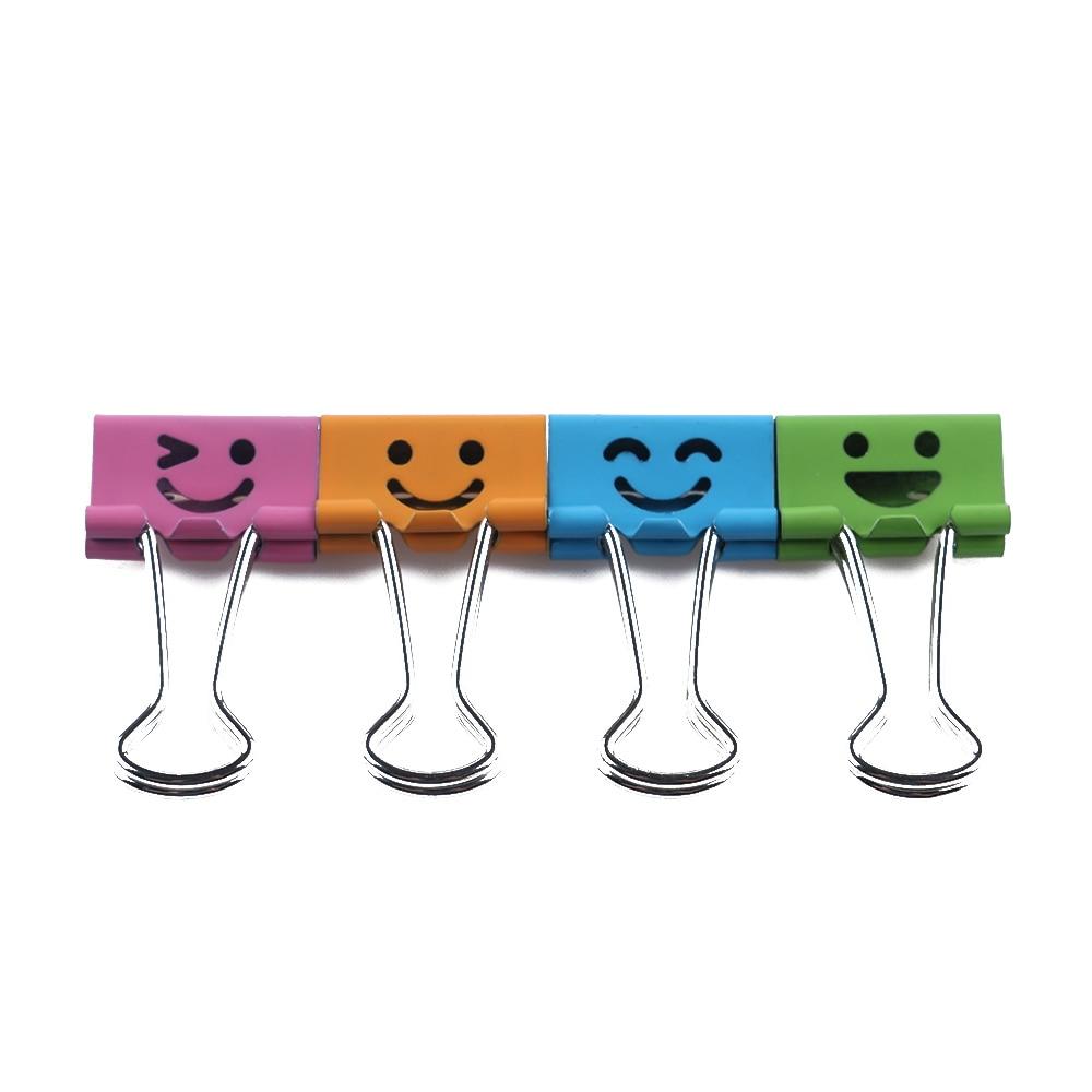 40 unids/caja de Clips de encuadernación con sonrisa común para el hogar, oficina, libros, archivo, organizador de papel, suministros de oficina