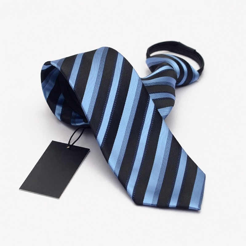 Black Zipper Ties for Men Easy To Pull 7cm Mens Necktie 2019 Fashion Blue Green Striped Neck Tie for Party Wedding with Gfit BOX
