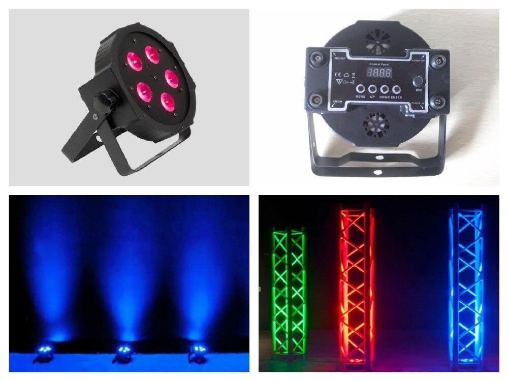 10 unids/lote... ADJ luz par LED 5x12W RGBW de 4in1 entrada IEC/salida Slim par38 luces DMX Megar par de luces de escenario