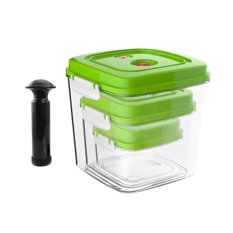 Oloey recipiente de vácuo grande capacidade de armazenamento de alimentos saver recipientes plásticos quadrados com bomba aferidor do vácuo 500 ml + 1400 ml 3000 ml
