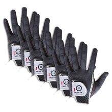 Rękawice golfowe mężczyźni lewa ręka prawa wartość 6 paczka miękki deszcz Grip gorący mokry mikro antypoślizgowy Lh Rh rozmiar Fit XL duży średni ML palec dziesięć