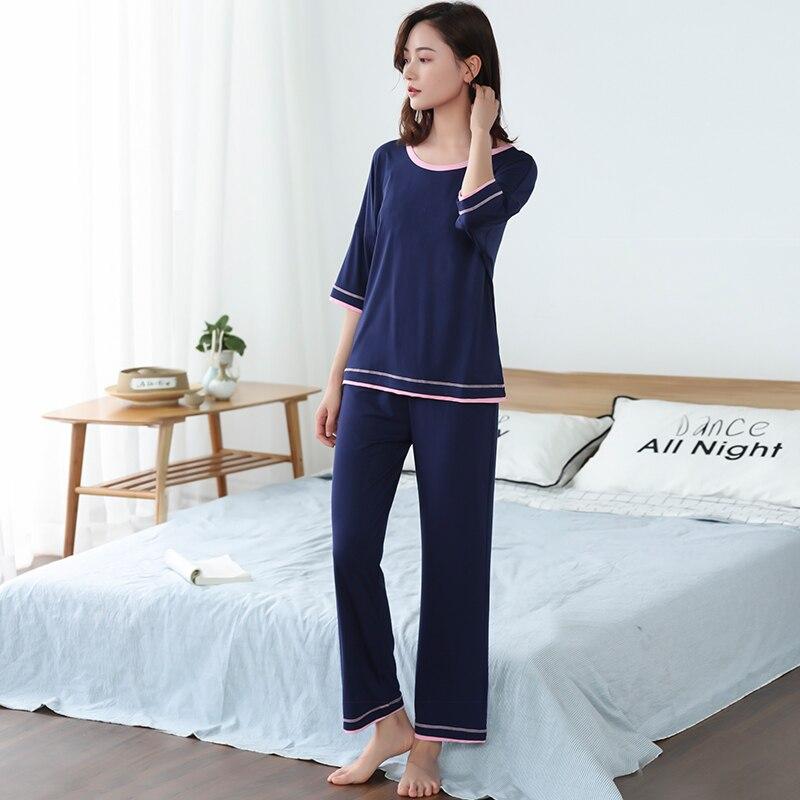 Женские пижамы из бамбукового волокна, пижамы для пар, летние пижамы