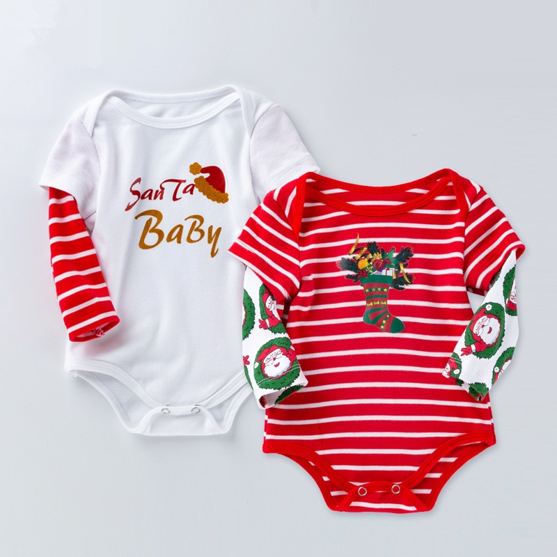 Christmas Clothes Baby Baby Romper Long Sleeve Cotton Baby Boys Girls Jumpsuit Letter Print Outfit C
