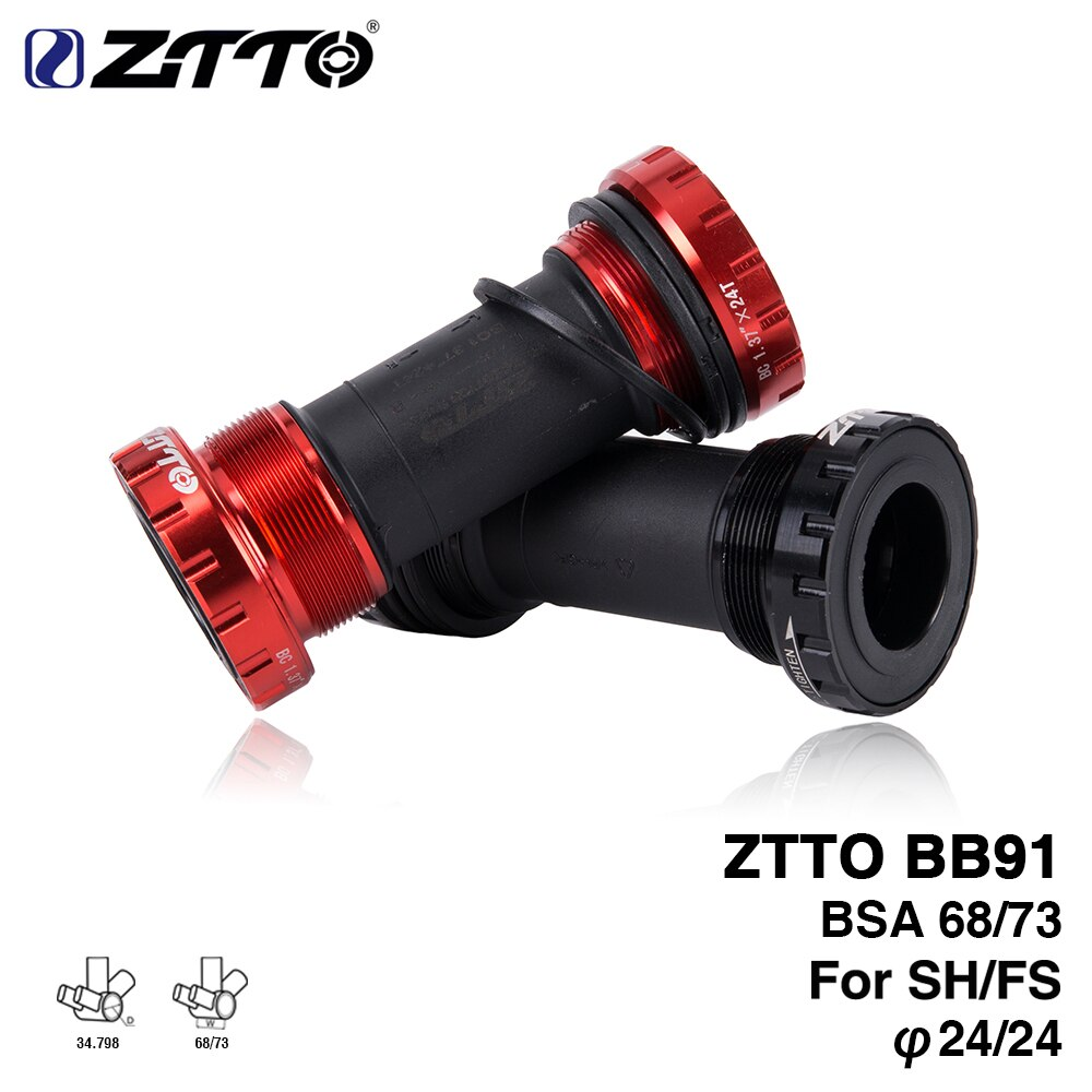 Ztto bb91 suporte inferior da bicicleta, fio de rolamento selado tipo 68 73 mm bsa68 concha 24mm eixo respingo mtb estrada bicicleta à prova dágua
