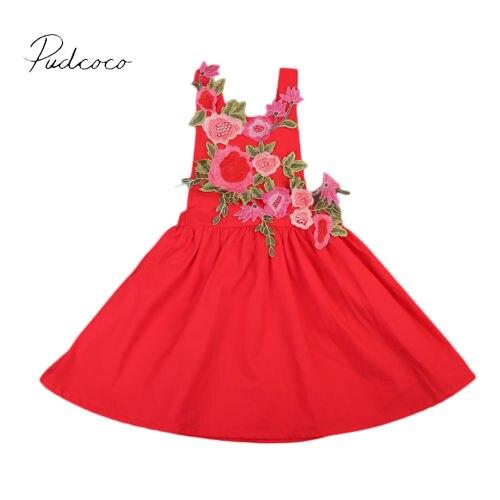 Boutiqe 2017 negro/rojo 3D flor niño bebé niñas desfile fiesta verano vestido 1-6Y