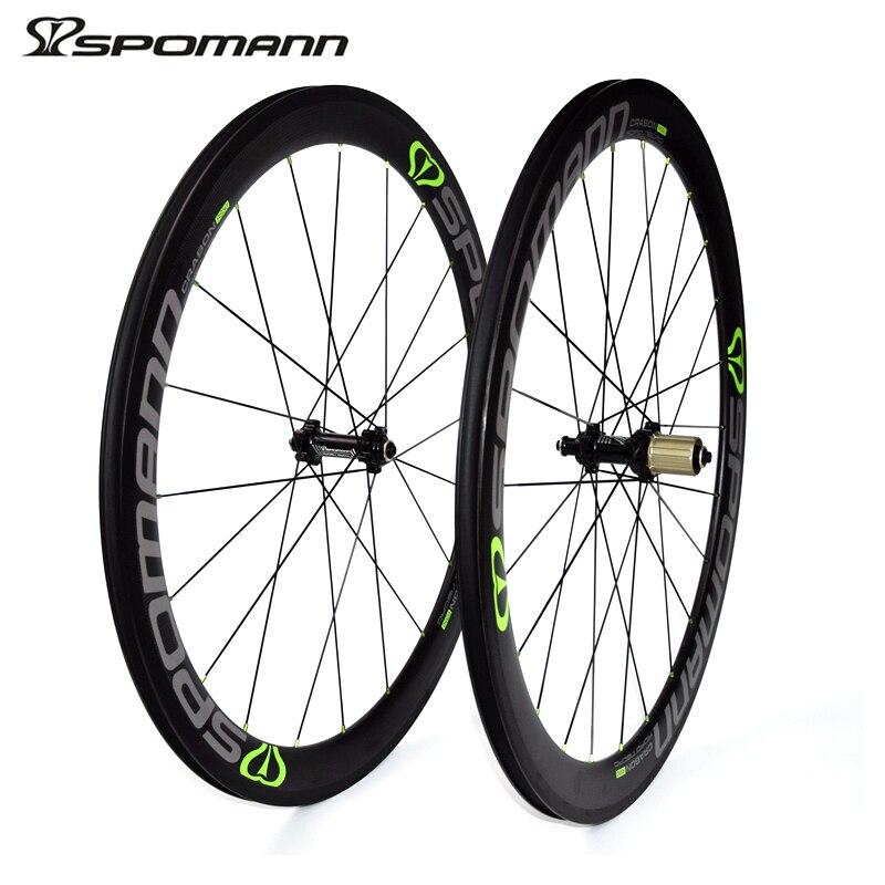 SPOMANN 700C Carbon Wheelset 50mm 3K Matte Road Bicycle Wheels Hubs 11 Speeds V Brake Roue Carbone Pour Velo Route Bicycle Parts