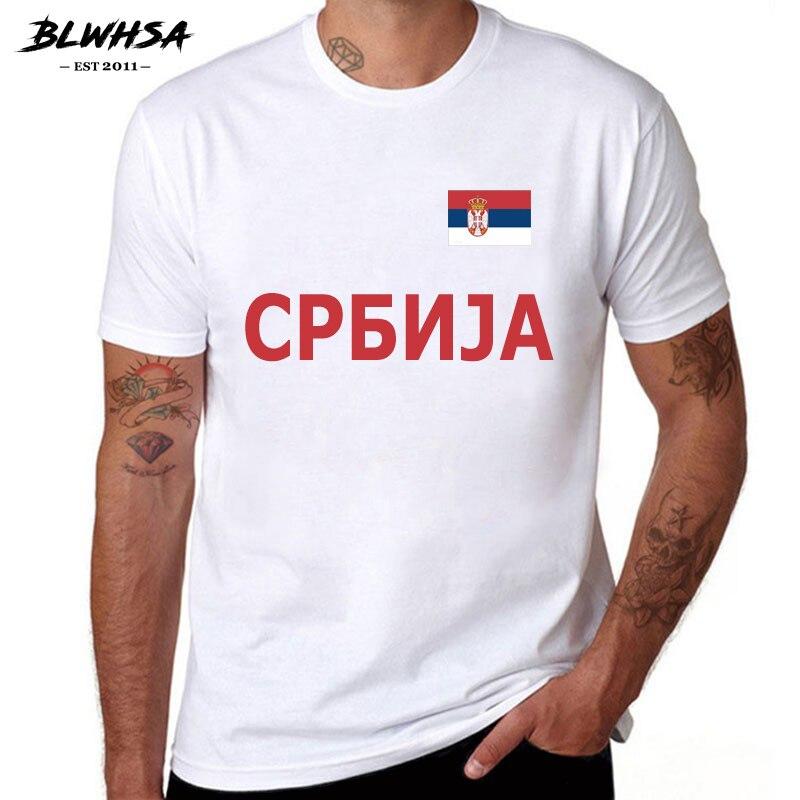 BLWHSA serbii fani Cheer dla dorosłych koszulki 100% bawełna męskie Causul koszulki z krótkim rękawem flaga serbii biały biały lato Tshirt