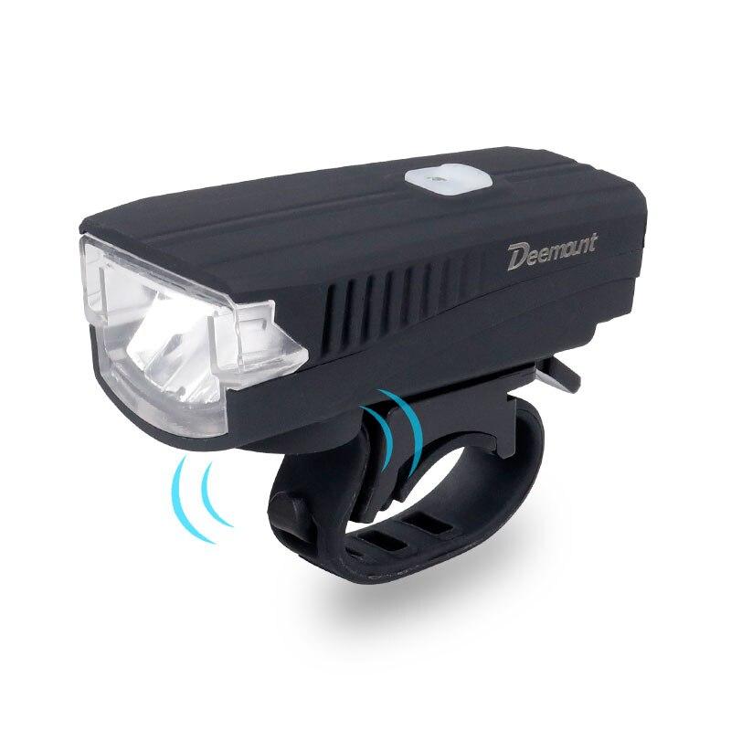 Deemount bicicleta faro + cuerno de carga USB bicicleta frente lámpara LED cascabel linterna sirena trompeta de alerta de advertencia 350Lm 120DB