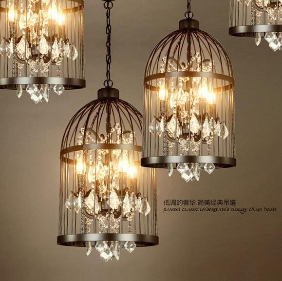 أمريكا بلد نمط الرجعية حديد صناعي قفص مصباح نجف مصابيح من الكريستال مطعم بار ، E14 ، AC220V ، حجم: 35 سنتيمتر * 60 سنتيمتر.