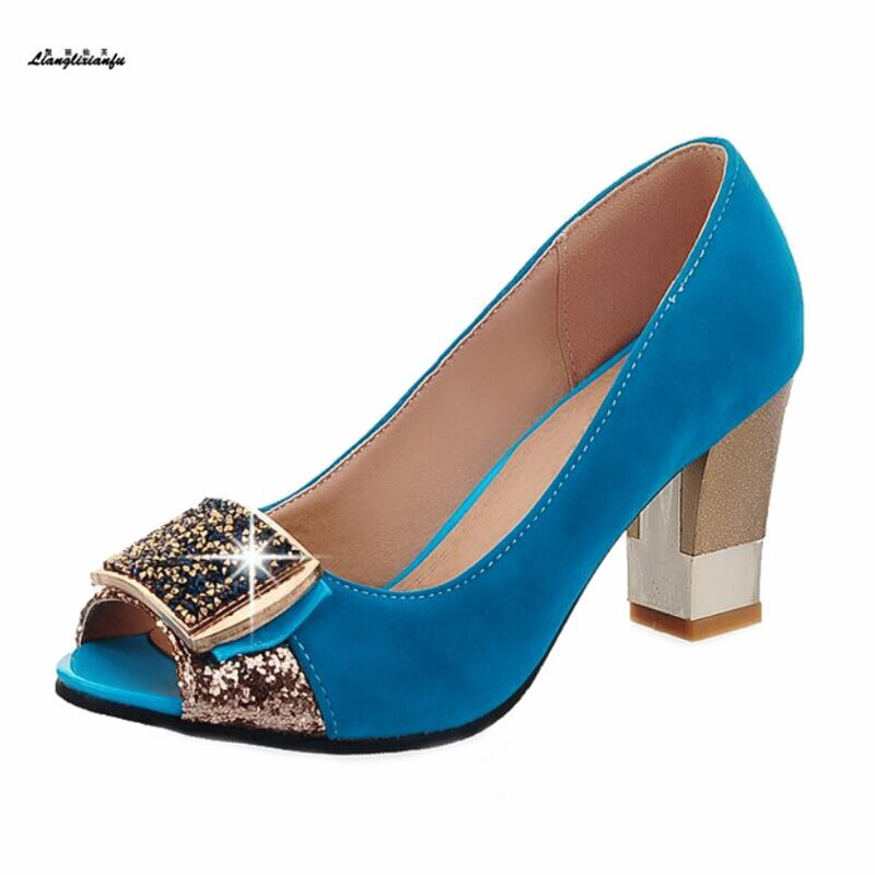 Sapatos de Mulher Sapatos de Metal Pio para Strass Elegantes Primavera Outono Zapatos Mujer 7 cm Grosso Saltos Decoração Bombas Mais: 32 33-43 –