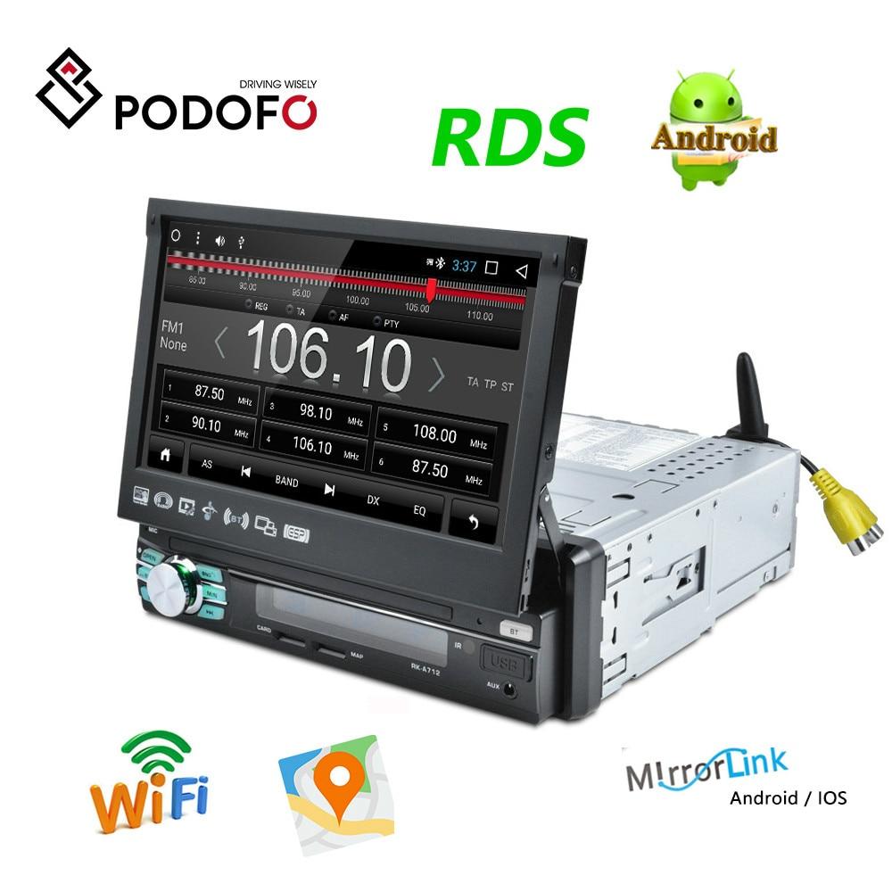 "Podofo 1DIN 7 ""HD Android otomatik Geri Çekilebilir Araba Stereo RDS Ses Radyo Bluetooth Araba MP5 Çalar SD FM USB arka Görüş Kamerası"