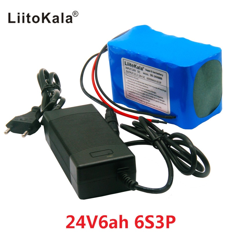 LiitoKala-بطارية قابلة لإعادة الشحن لـ HK 6S3P 24V 6Ah ، بطارية 25.2V 18650 ، 6000mAh ، لملاح GPS ، سيارة جولف ، دراجة كهربائية