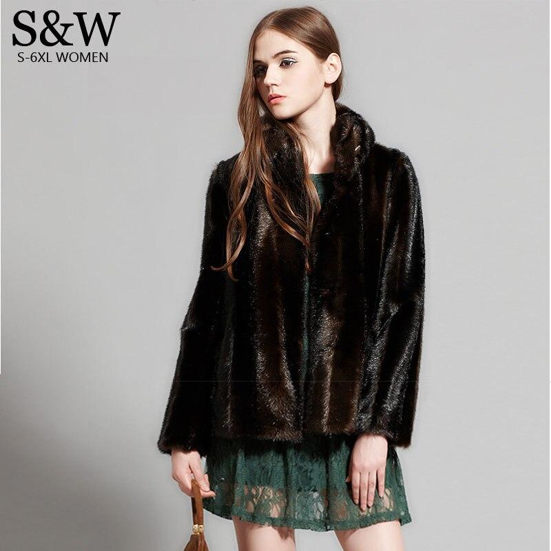 Luxuoso e nobre 2017 inverno feminino vison cabelo casaco de pele do falso vison casacos moda tamanho grande 5xl casaco de pele