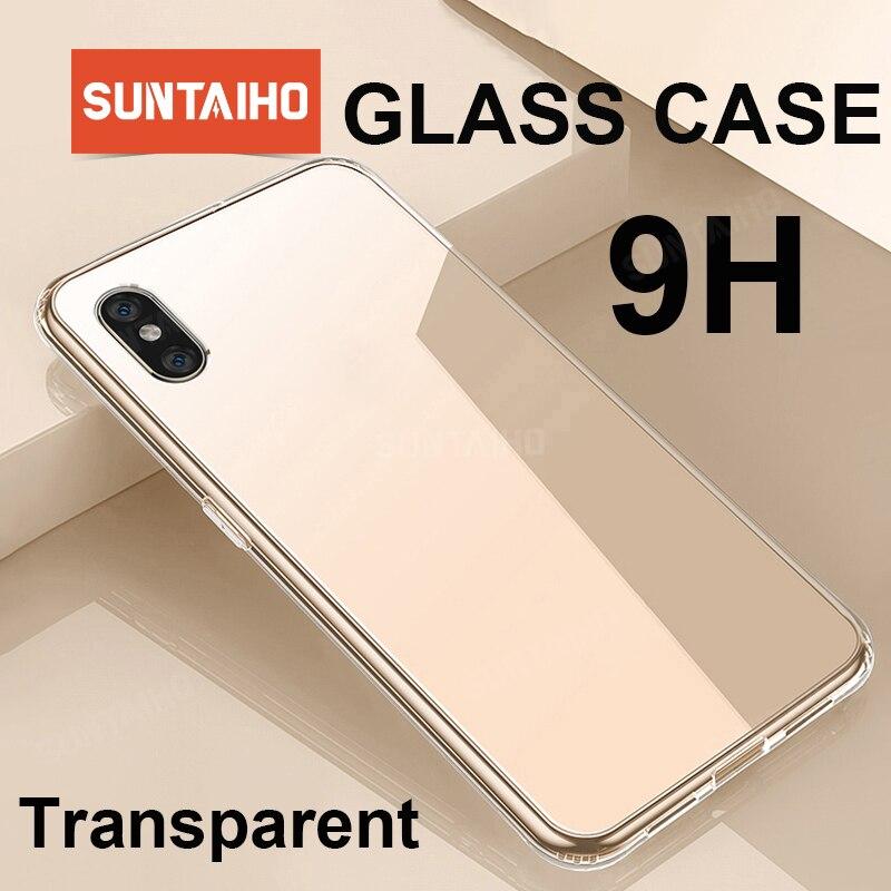 Funda Suntaiho de cristal de lujo para iPhone XS MAX XR, fundas traseras Ultra finas y transparentes para iPhone X 7plus 8plus, borde suave