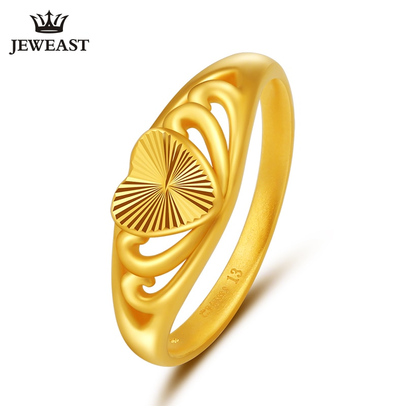 Promo JLZB 24K Pure Gold Ring Real AU 999 Solid Gold Rings Elegant Shiny Heart Beautiful Upscale Trendy Jewelry Hot Sell New 2020