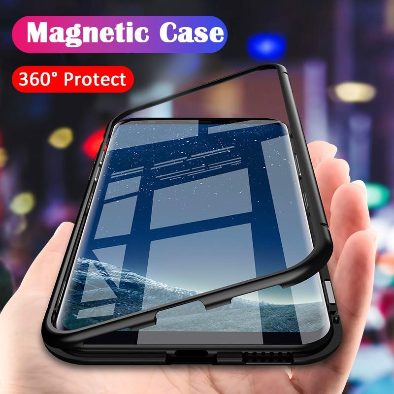 ProElite металлический бампер чехол для Samsung Galaxy Note 9 Note 8 магнитное адсорбционное закаленное стекло для Samsung S8 S9 Plus S7 Edge