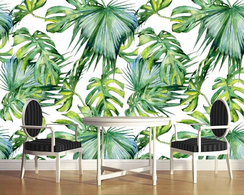 Custom photo wallpaper, tropical leaf murals for living room bedroom sofa backdrop waterproof wallpaper