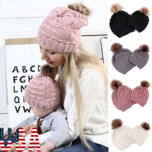 Kerst Hoeden Vrouwen Baby Warm Gebreide Wollen Beanie Bont Pom Bobble Hat Haak Cap Hot ouder-kind Winter Hoeden knit Met Venonat
