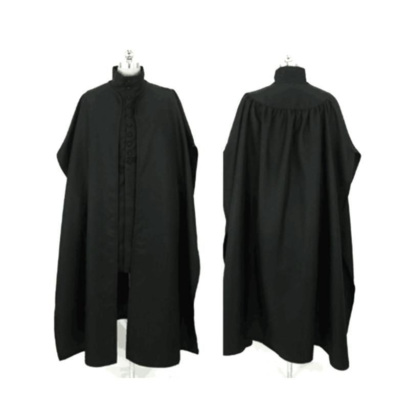 Disfraz de profesor Severus Snape, traje negro de Bata, chaqueta, capa, traje de fiesta de Carnaval de Halloween para hombres y adultos