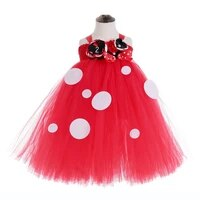 red tulle tutu polka cartoon teen dresses party baby girl first 2 years birthday dress vestido girls photography costumes outfit