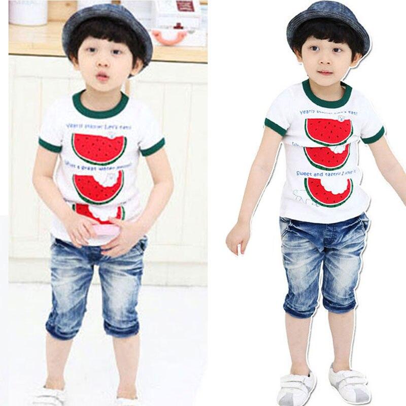 Belleza Chic chico niño Tops acogedor camiseta niño niños cuello redondo sandía camiseta caliente