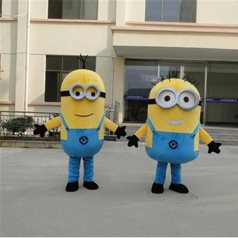 Disfraz de Cosplay de Minion Mascot para adultos, ropa de muñecas de soja con dibujos animados