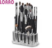 LOAAO crystal box make up brushes holder Acrylic box case home cosmetic storage box makeup brush organizer box 26 holes