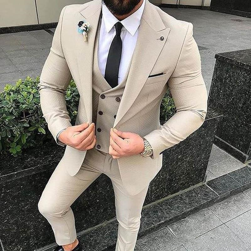 Slim Fit Beige 3 Piece Suit Men Wedding Tuxedos Bridegroom Groomsmen Suits Men Business Party Prom Blazer(Jacket+Pants+ Tie+Vest
