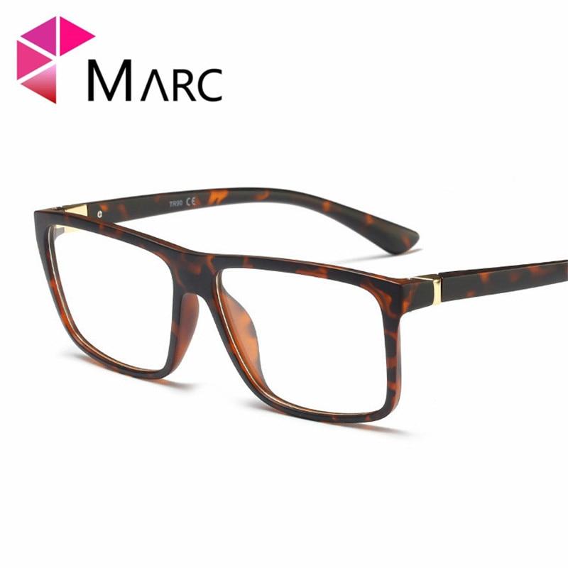 MARC Men TR90 gafas de moda montura lentes retro claros resina tendencia vidrio plástico mate leopardo imprimir gafas negras 2019 G8025 1