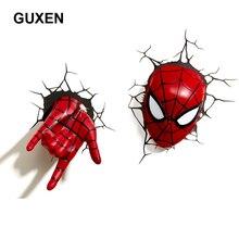 Guxen 3D Marvel Spider Man tête et main en forme de cadeaux créatifs dessin animé mur veilleuse pour enfants décoration luminaires nuit