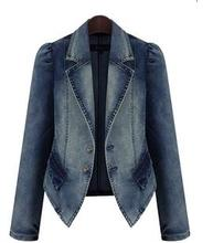 Denim Blazer Femme Lente Grote Maat 4Xl 5xl Jeans jasje lange mouwen jaquetas casaco feminino
