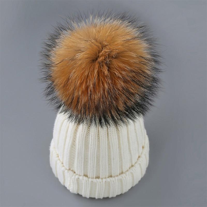 100% real pele de guaxinim pompon chapéus feminino inverno ponpon bonés fofo grande pompom skullies feminino pumpon malha gorro adulto meninas