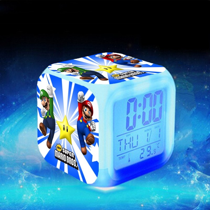 Super Mario LED Alarm Uhr reloj despertador Luigi Mario Uhr elektronische schreibtisch uhr KLOK Touch Beleuchtung Up Uhren Saat
