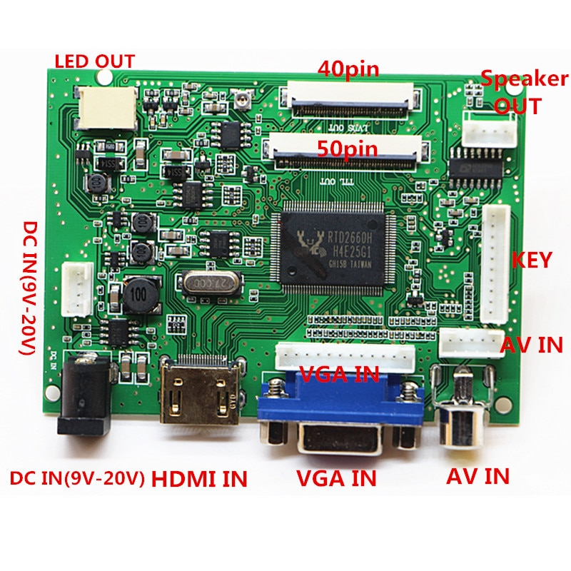 HDMI + VGA + 2AV + аудио 40pin 50pin LCD драйвер контроллер плата комплект для панели CLAA070ND02/EJ070NA02/AT070TNA2 V.1 1024*600
