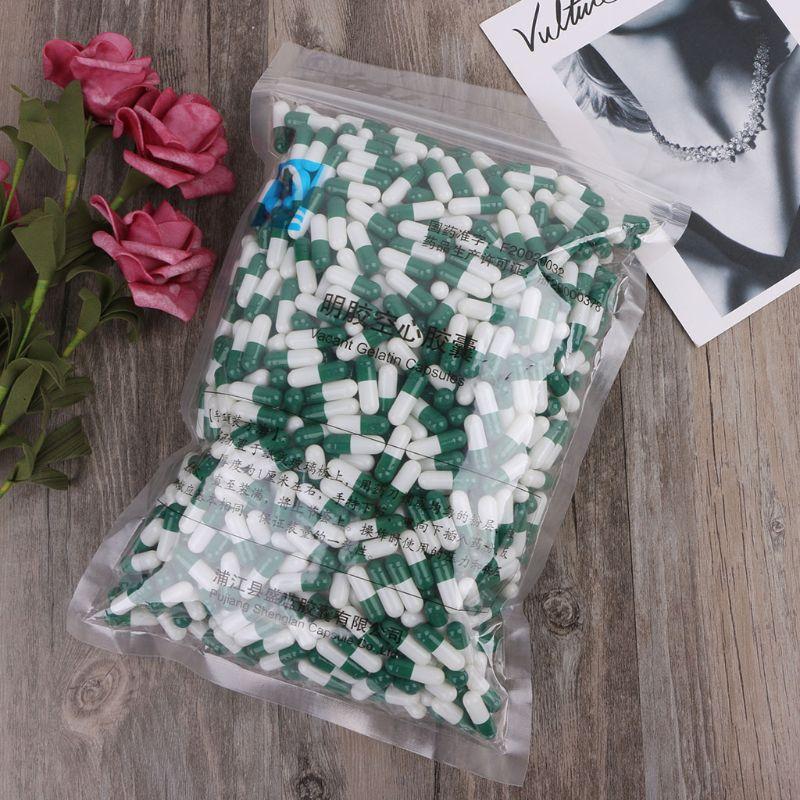 1000 pièces Capsule de gélatine dure vide verte et blanche taille 0 # Capsule de pilule de médecine