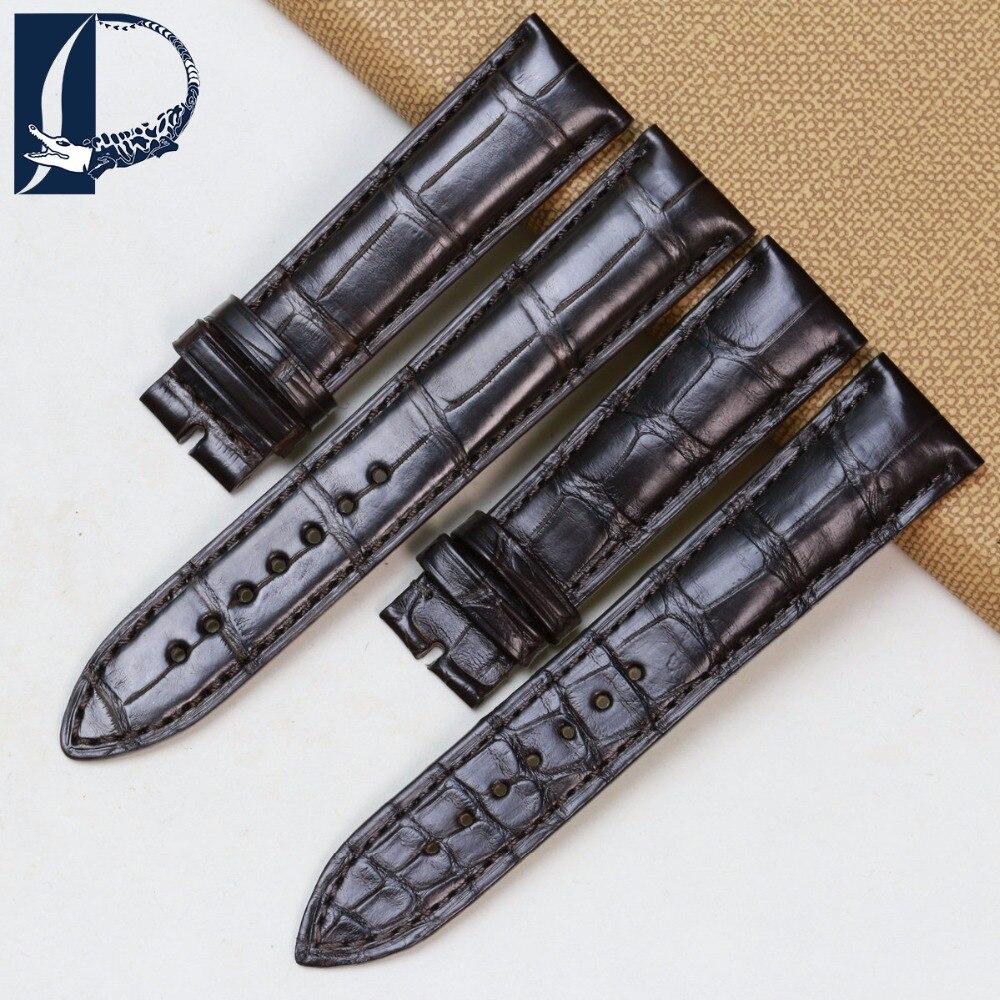 Pesno adequado para jaeger-lecoultre couro de crocodilo marrom escuro pulseira de relógio de luxo masculino relógio acessórios 20mm pulseira