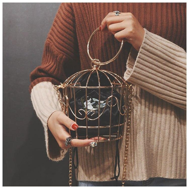 TekiEssica diseño las mujeres jaula noche bolso de embrague de marco de Metal bordado cubo Mini bolso de las mujeres, borla de oro bolso