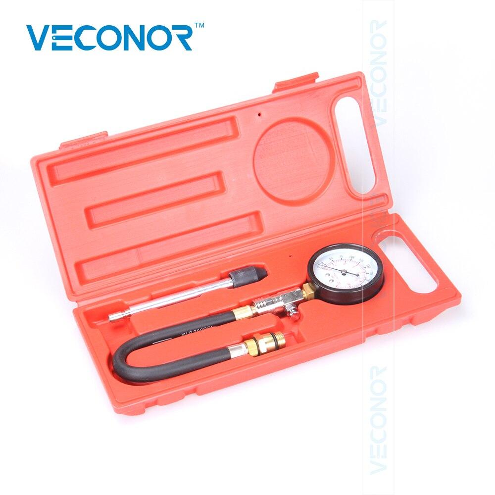 Medidor de presión del cilindro del motor G324, medidor de compresión de gasolina 0-300PSI