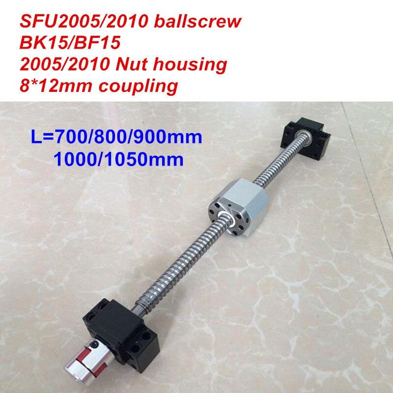 SFU2005 SFU2010 700mm 800mm 900mm 1000mm 1050mm ballscrew + BK15/BF15 + tuerca de la vivienda + 8*12mm acoplador piezas CNC