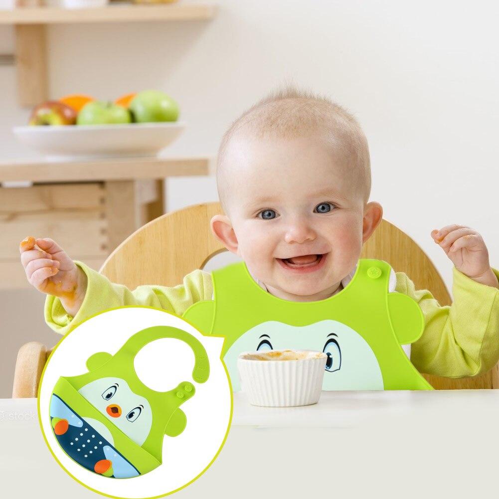 Babero para comer para bebé, babero impermeable de silicona de grado alimenticio con dibujos animados