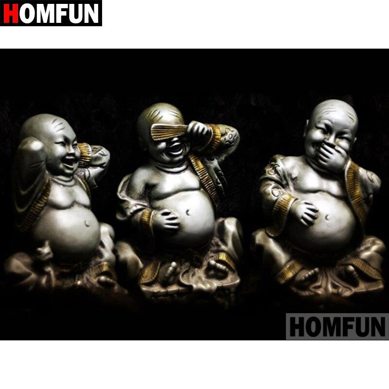 """HOMFUN 5D DIY pintura de diamante cuadrado completo/taladro redondo """"Buda religioso"""" 3D bordado regalo de punto de Cruz decoración del hogar A01108"""