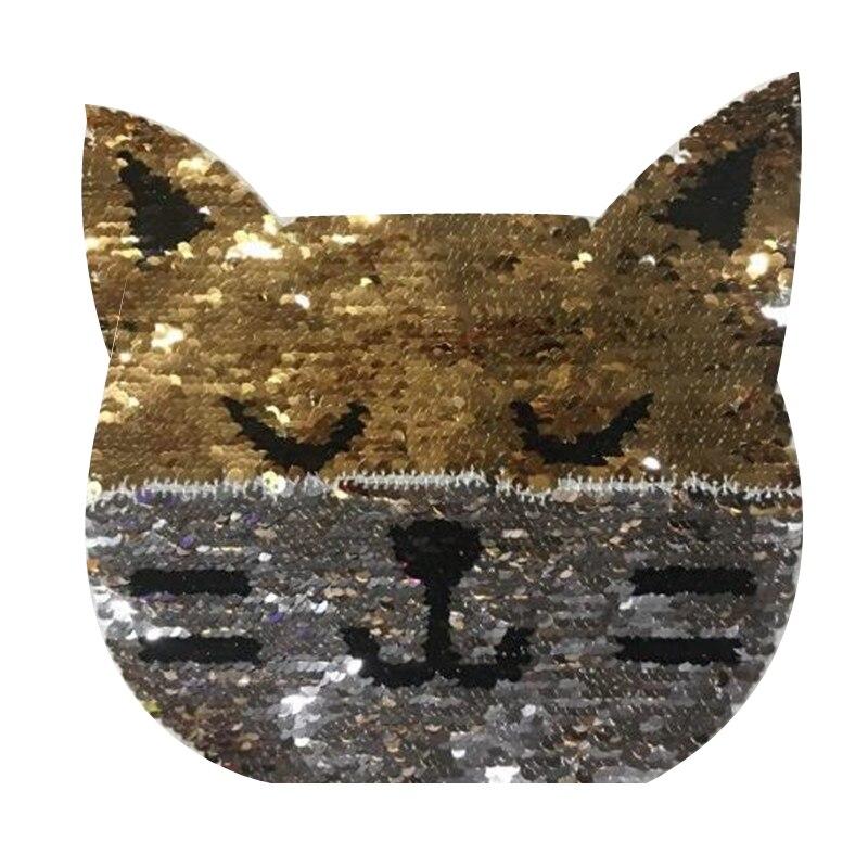Revertible y en distintos colores lentejuelas parches de animales para ropa T camisa máscara 20cm cabeza de gato flip doble cara camiseta parche para chica