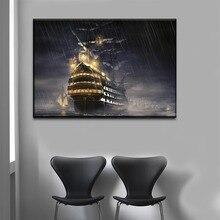 1 панель Пираты Карибского моря картина с кораблем холст настенное Искусство украшение дома гостиной современный HD Печатный Тип живопись