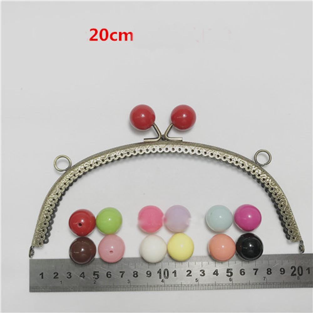 Women handbag purse frame colorful ball kiss buckle knurling metal clasp bag making hardware accessories 20.5cm 5pcs/lot