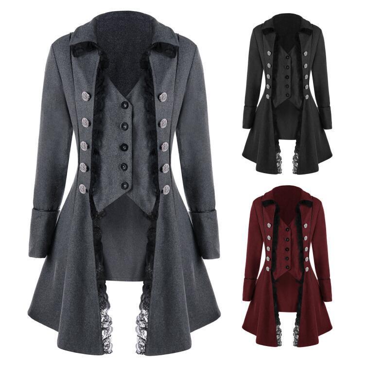 Casaco de lapela gótico feminino vitoriano punk rendas decoração botão casaco retro medieval manga longa tailcoat 5196