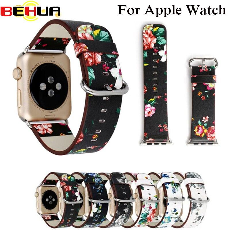 Модный стиль, цветочный кожаный ремешок на запястье для Apple Watch, браслет с цветком для iWatch, винтажный ремешок для часов 38 мм 42 мм, браслет