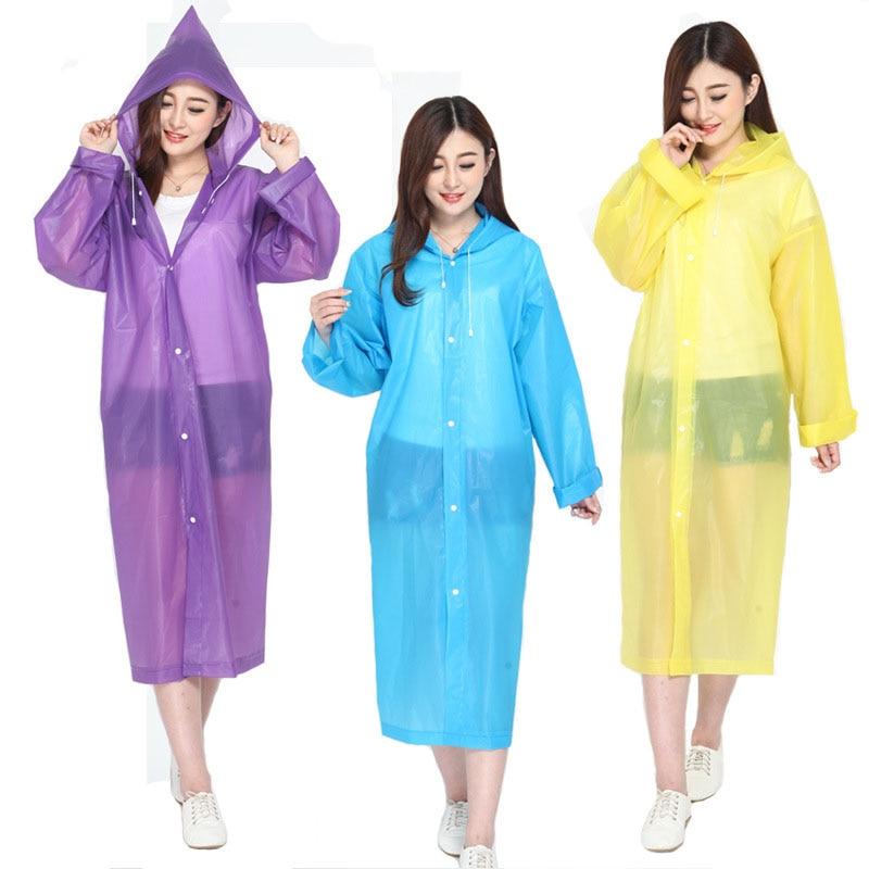 Moda EVA mujeres impermeable abrigo de lluvia grueso mujeres transparente Camping impermeable traje Unisex