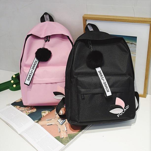 Mochila escolar femenina versión coreana Harajuu Escuela Secundaria mochila marea simple lona doble mochila fabricante SS-014